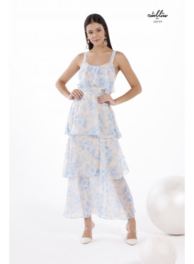Floral layered Chiffon Dress for a Distinct Feeling
