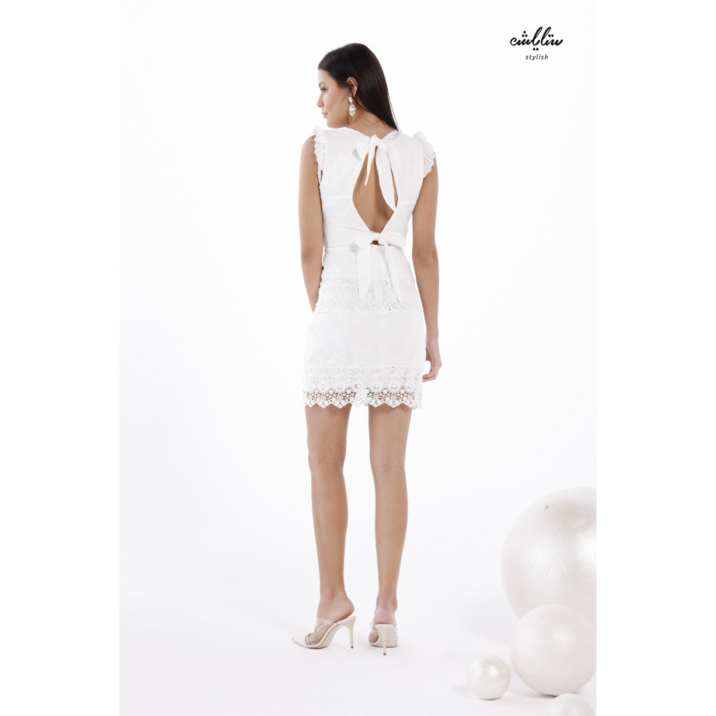 Floral Guipure Lace Fitted Dress With Back Ties to Add a Touch of Beauty and Softness