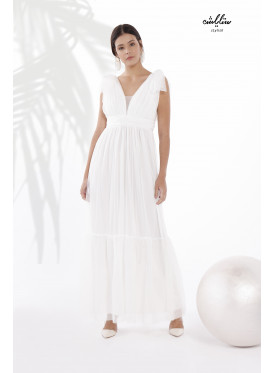 Shoulder Knot Plunging Neck Mesh -tulle- Dress with Pleats Around the Waist and a Wide drop-down cut in Snow ًًWhite color