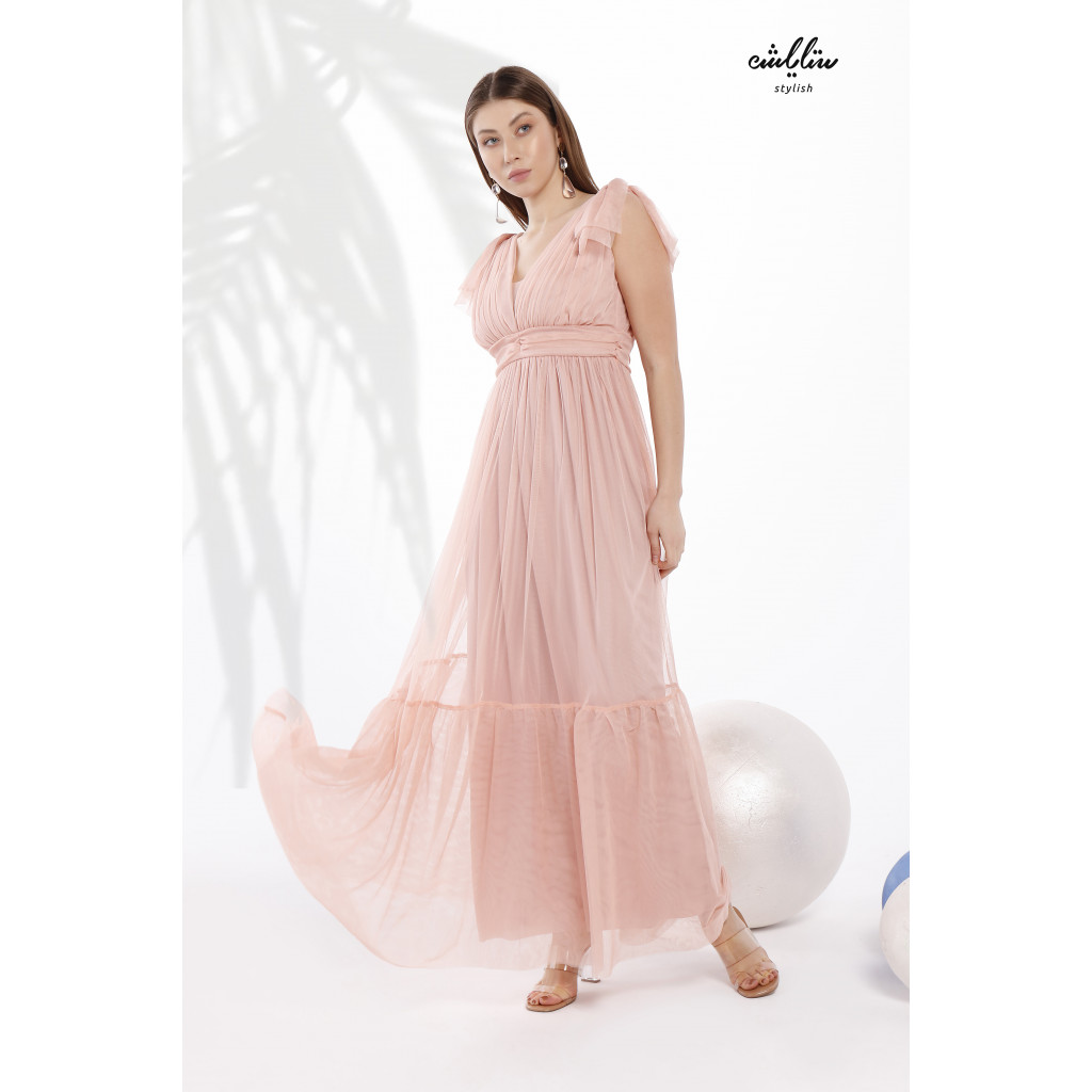 Shoulder Knot Plunging Neck Mesh -tulle- Dress with pleats around the waist and a wide drop-down cut in  charming pink pastel color