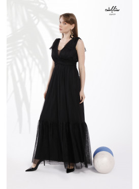 Shoulder Knot Plunging Neck Mesh -tulle- Dress with Pleats Around the Waist and a Wide drop-down cut in Royal black color
