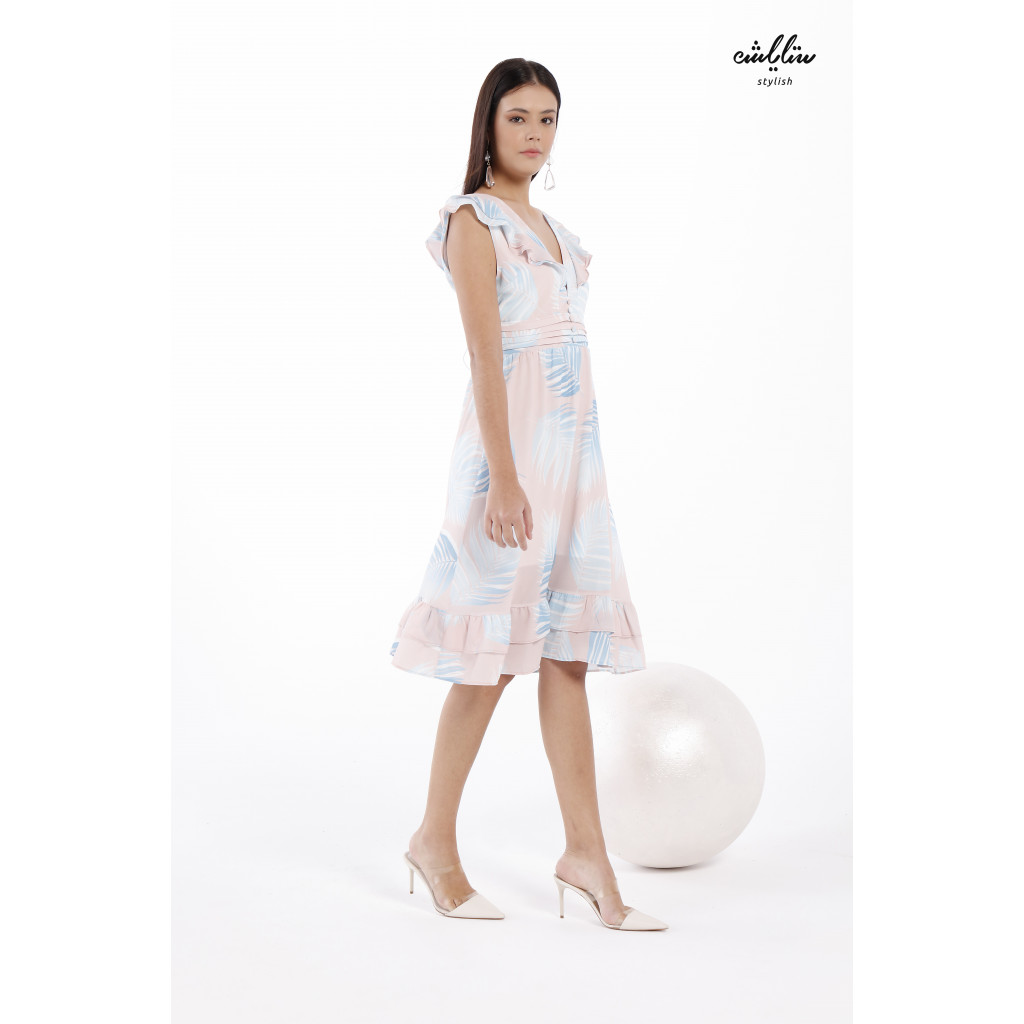 Simple Tropical Print Ruffle Cuff A-line midi Dress in Very soft Baby Blue and Baby Pink color