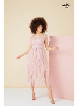 Layered asymmetric dress in soft tulle