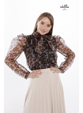 Organza leopard blouse with a delicate tie