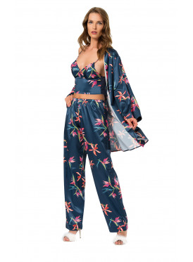 A classy  dazzling three-piece navy blue satin nightgown with fluffy prints
