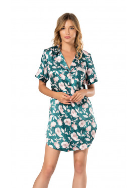 A  Classy  Royal Green Striped Button-Up Satin Shirt Dress With Rose Prints For A Feminine Touch