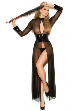 Long Soft Black Lingerie With Glossy Leather Belt