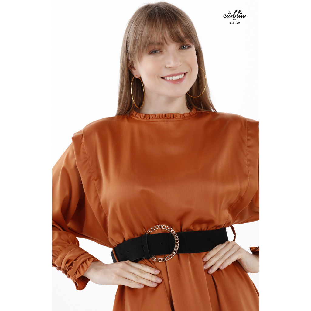 Short Two-Layer Dress And Long Sleeves With High Collar For Striking Look.