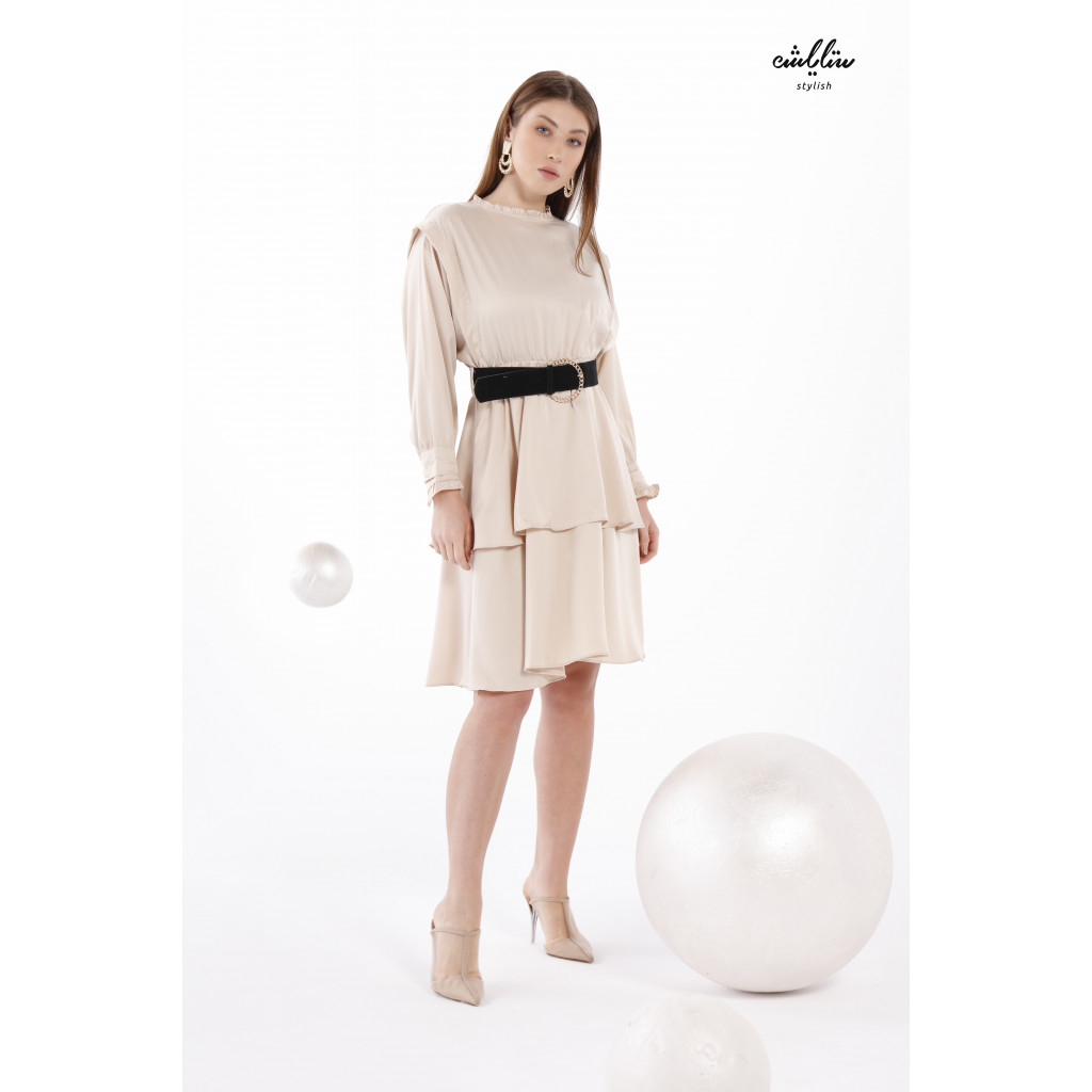 Beige Short Dress With Two Layers And Long Sleeves With High Collar For A Remarkable Look.