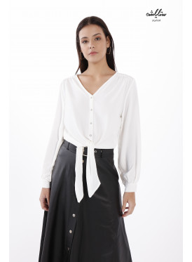 V Neck button-up  White Blouse with Front Tie.