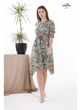 Floral Asymmetrical Hem Green Dress with Inner Belt