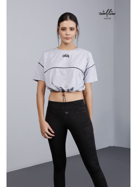 Drawstring Waist Crop Tee For casual look