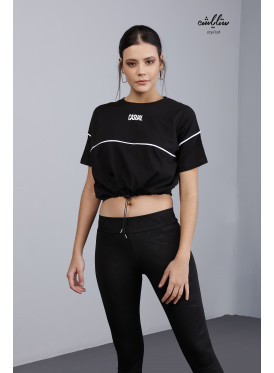 Drawstring Waist Crop Black Tee For casual look