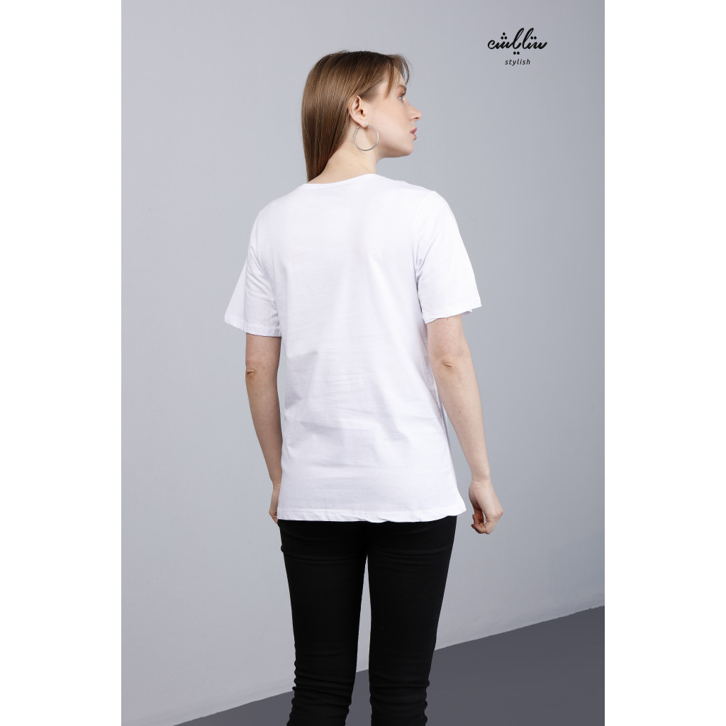 Letter White Tee With Short Sleeves For Cute Look