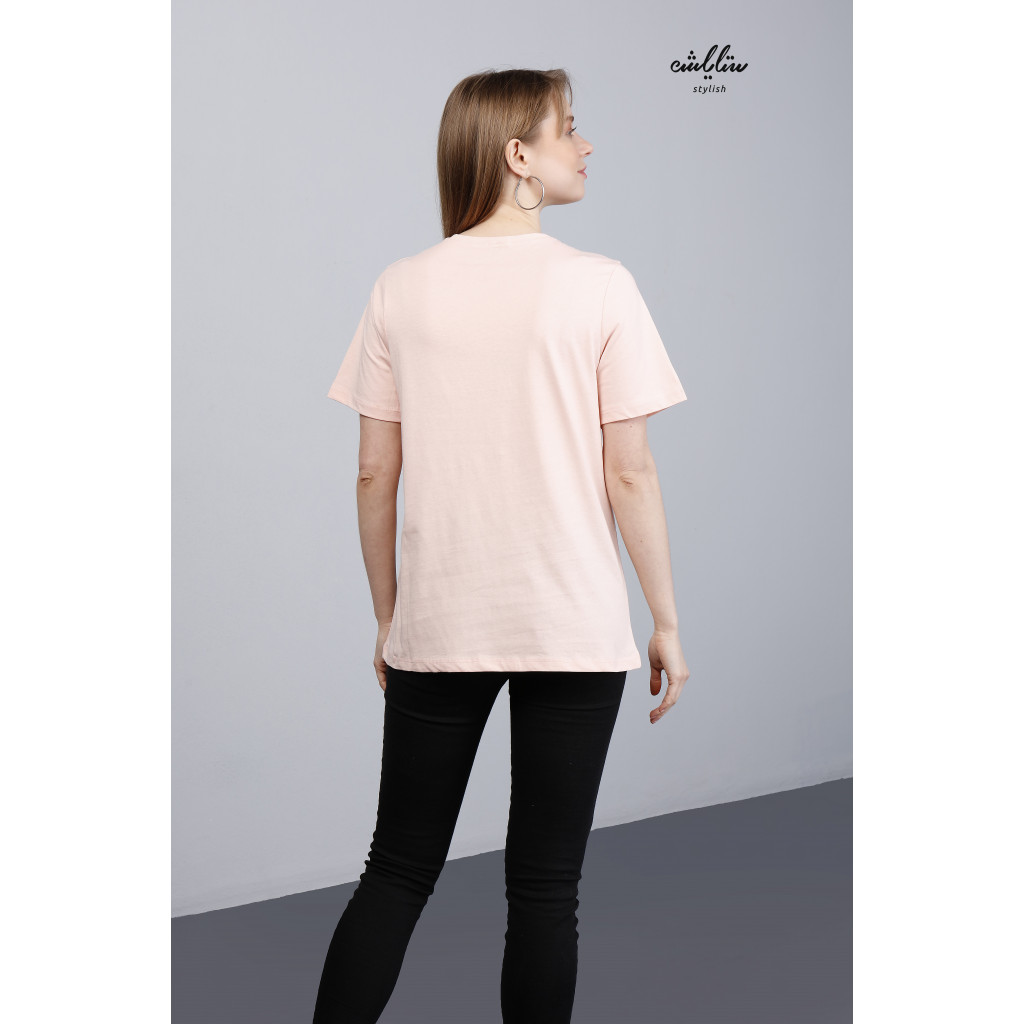 Minnie Mouse Print Round Neck Pink Tee