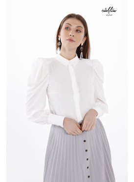 Button up formal blouse with puff sleeves