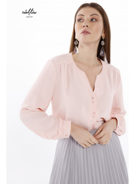 V neck long sleeve  blouse with buttons