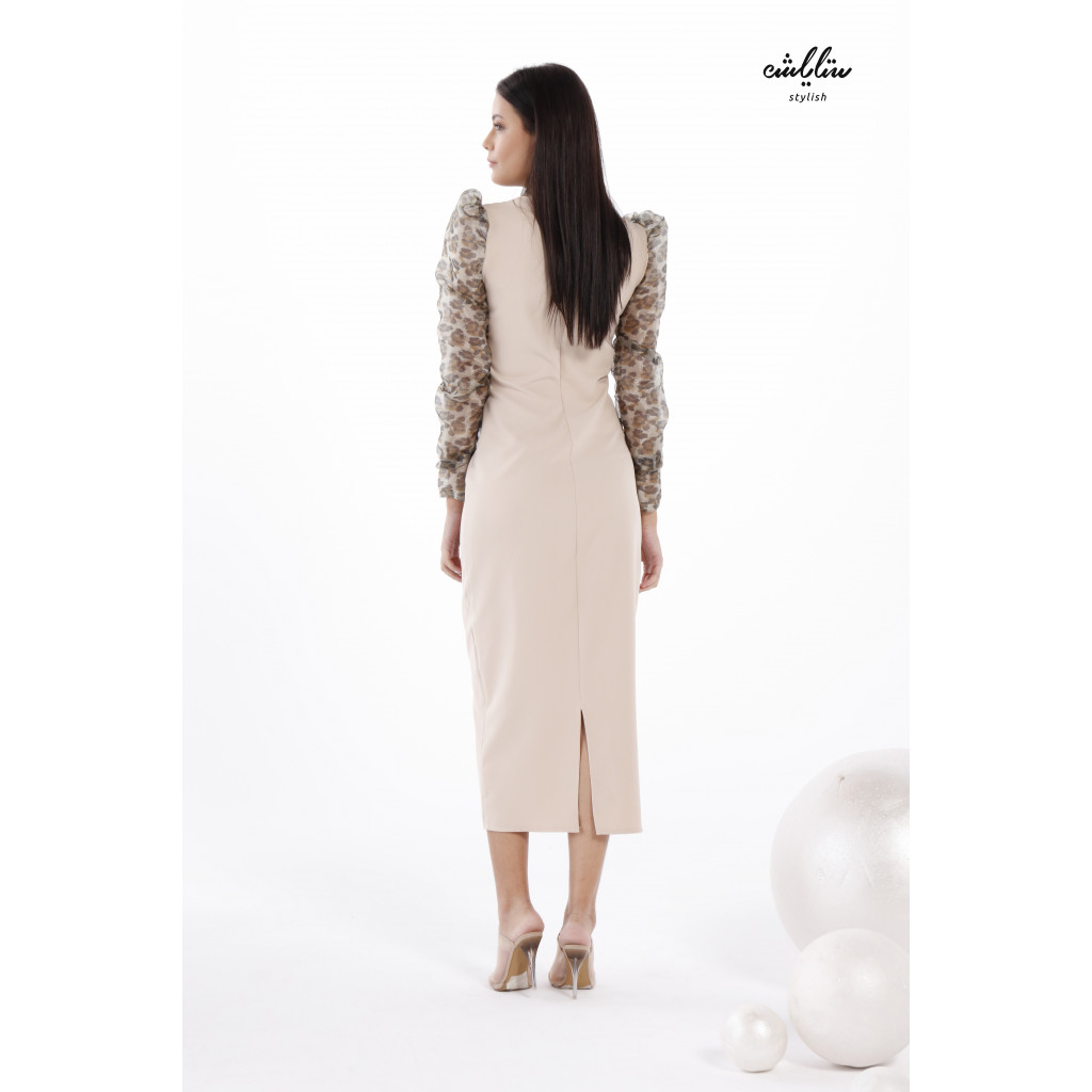 Neck tie and leopard print organza Sleeves Bodycon  Dress for formal attractive style