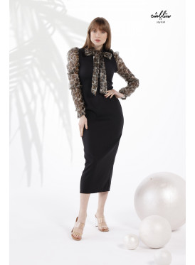 Neck tie and leopard print organza Sleeves Bodycon Black Dress for formal attractive style