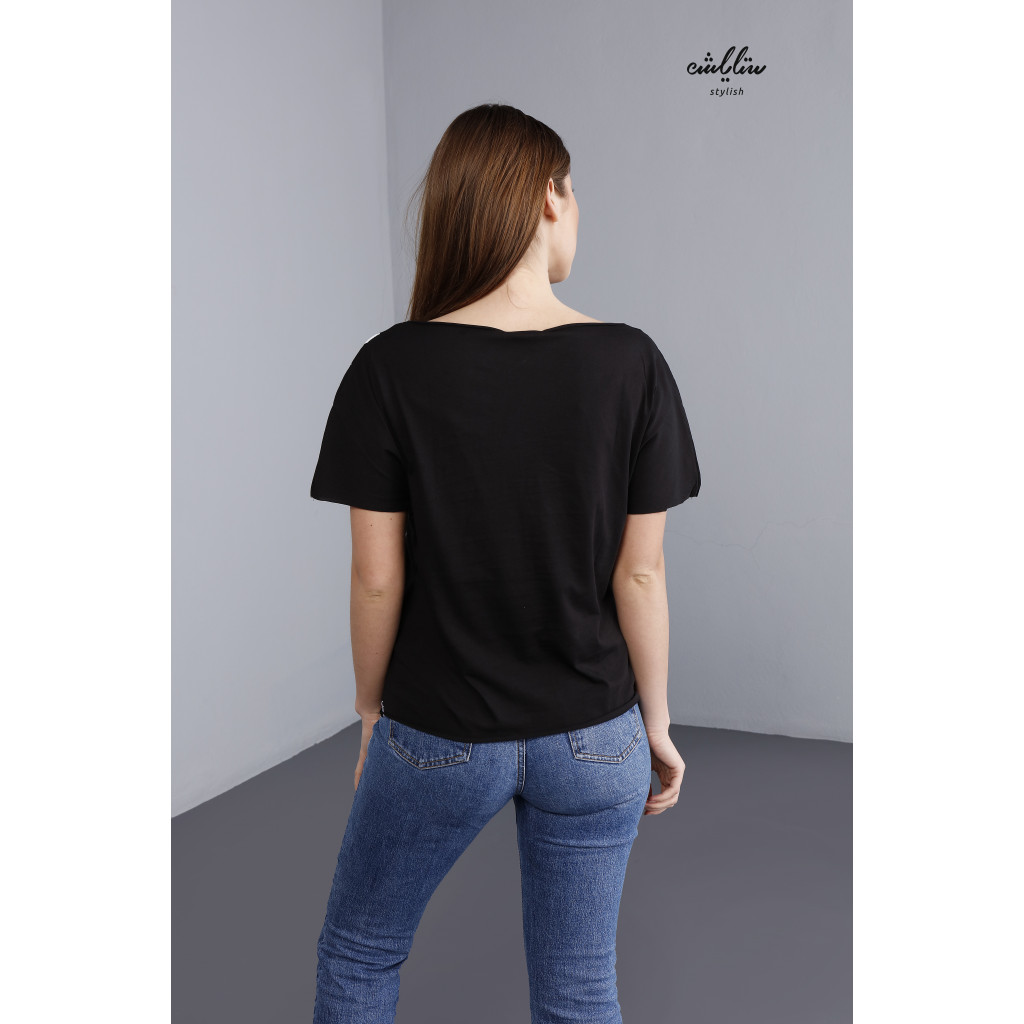 Black T-shirt with lettering print