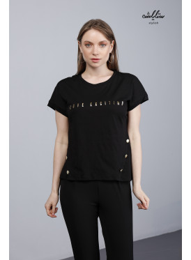 Black T-shirt with side buttons