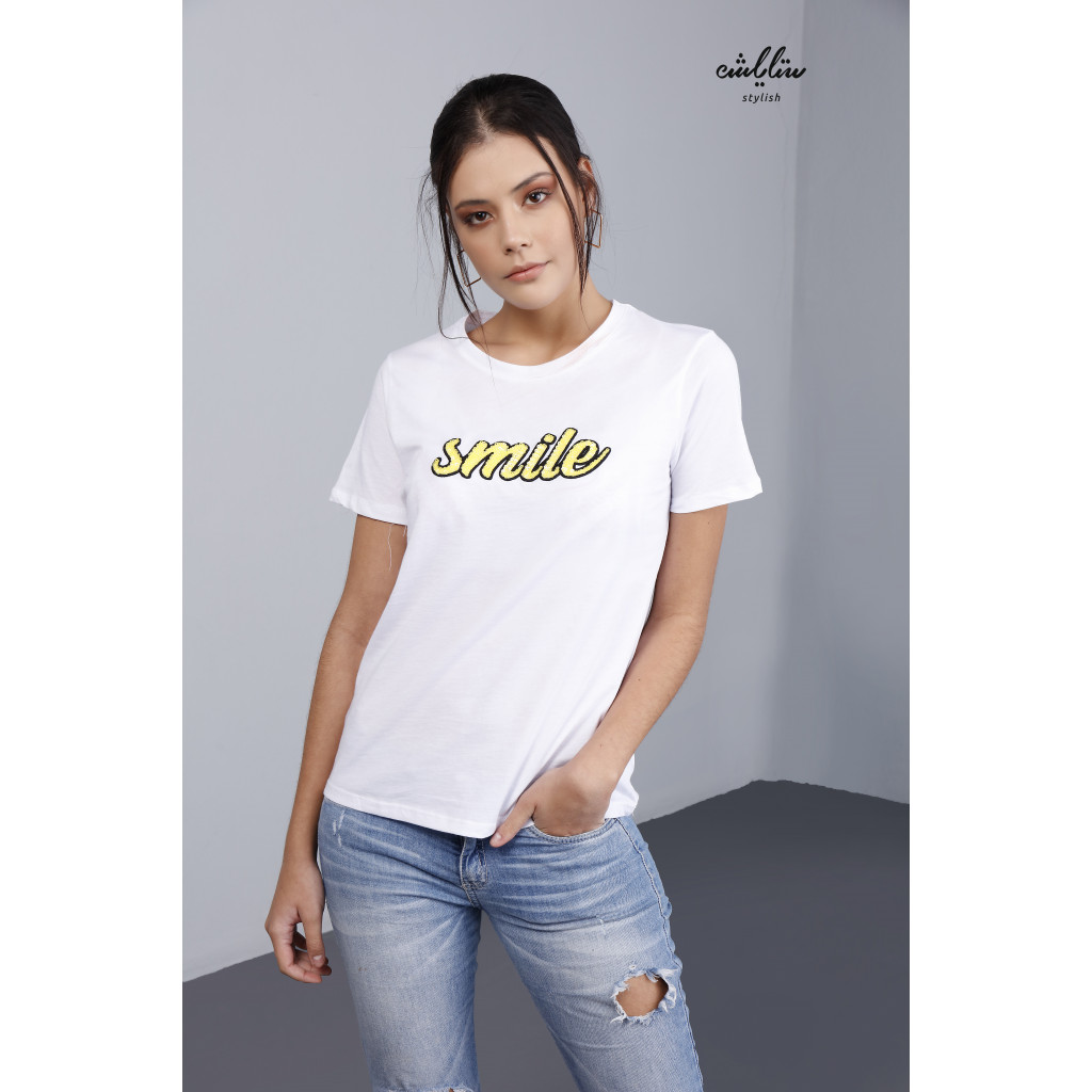 White T-shirt in  plaid smile letters