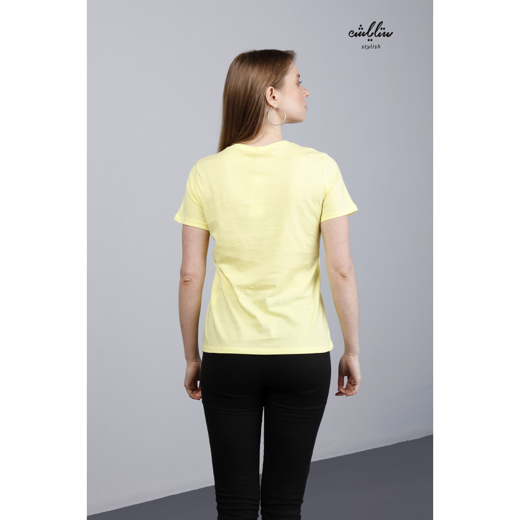 Yellow T-shirt in  plaid smile letters