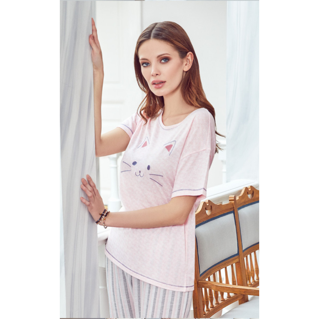 pj set in striped pants and a round neck top with cute prints