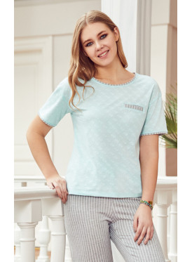 Soft pj set in striped pants and a round neck top