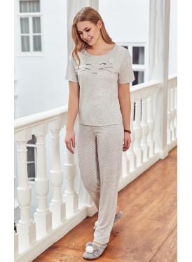 pj set in soft pants and a round neck top with cute prints