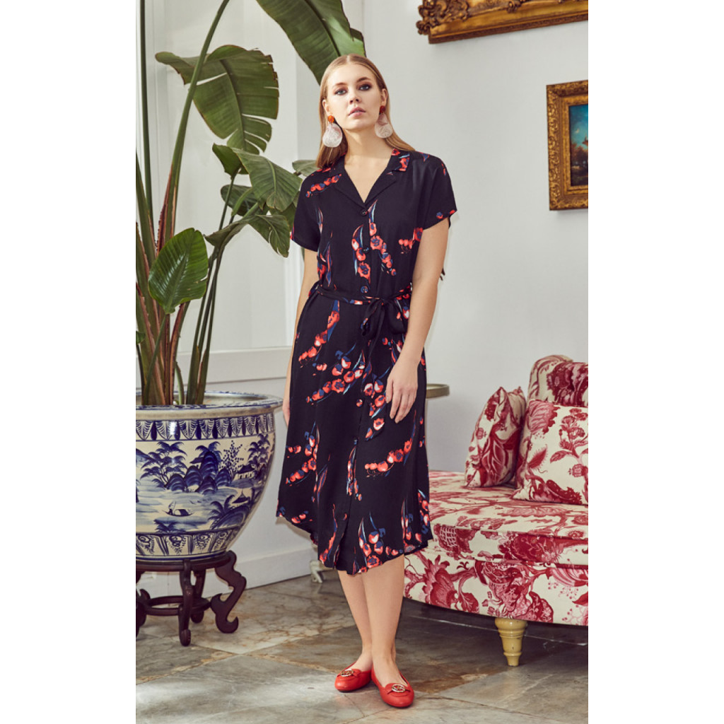 Simplee Floral Print Button Dress