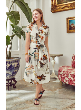 Tropical prints self  belted buttoned up dress