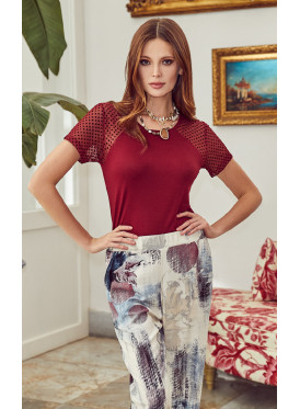pj set in soft printed pants and a round neck top with lace on sleeves