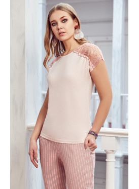 pj set in striped pants and a round neck top with lace