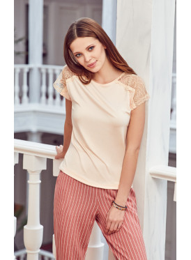 Soft pj set in striped pants and a round neck top with lace