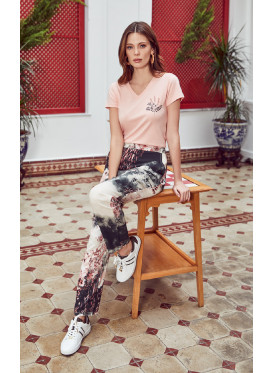 pj set in soft printed pants and a v neck top