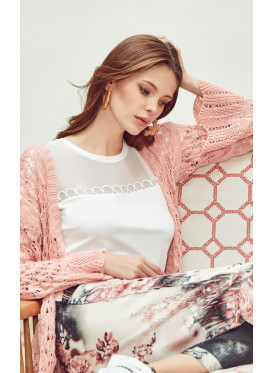 3pcs  home set of printed pants ,  white inner top and  robe of knitwear