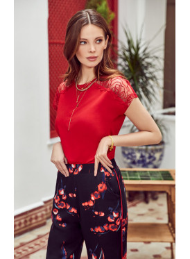 pj set in soft printed pants and a round neck top with lace