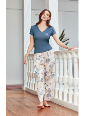 PJ set in floral printed pants and v neck blue top