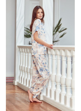 Floral printed button up PJ set