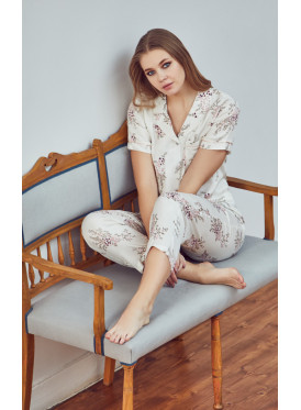 Floral prints button up soft  PJ set