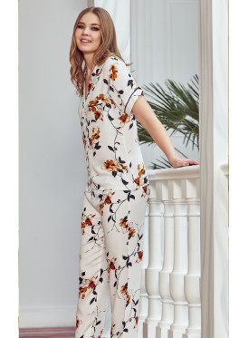 Floral prints and button up soft  PJ set