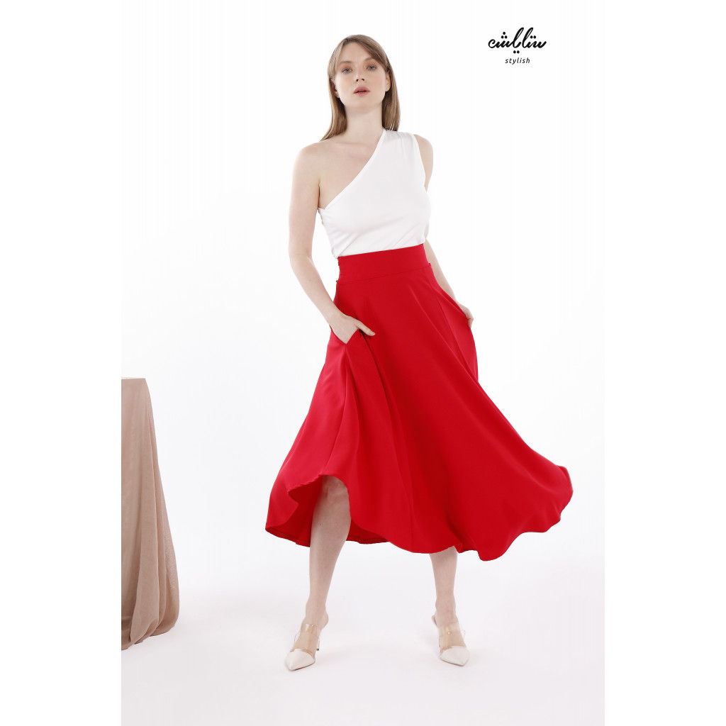 Dual Pocket Piping Trim Belted Red Skirt With One Shoulder Top For Cute and Casual look