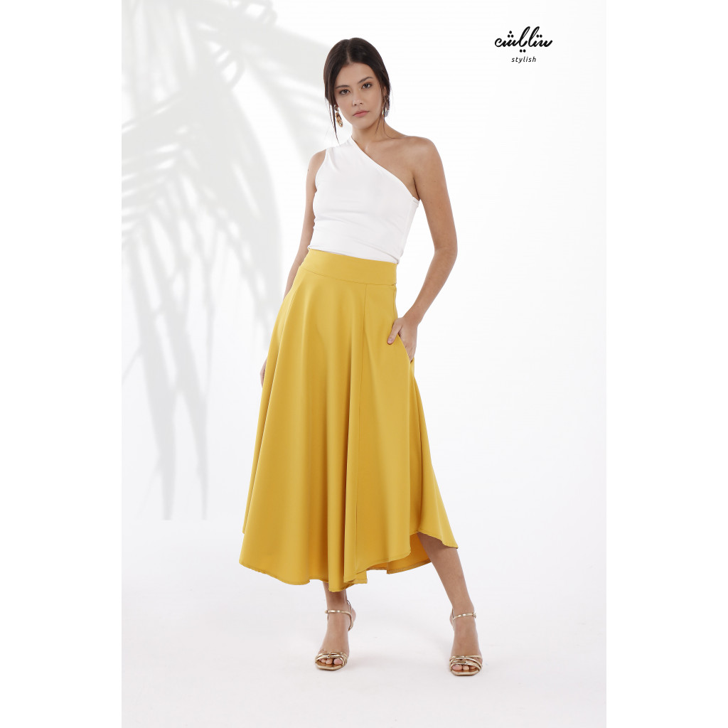 Dual Pocket Piping Trim Belted  Skirt With One Shoulder Top For Cute and Casual look
