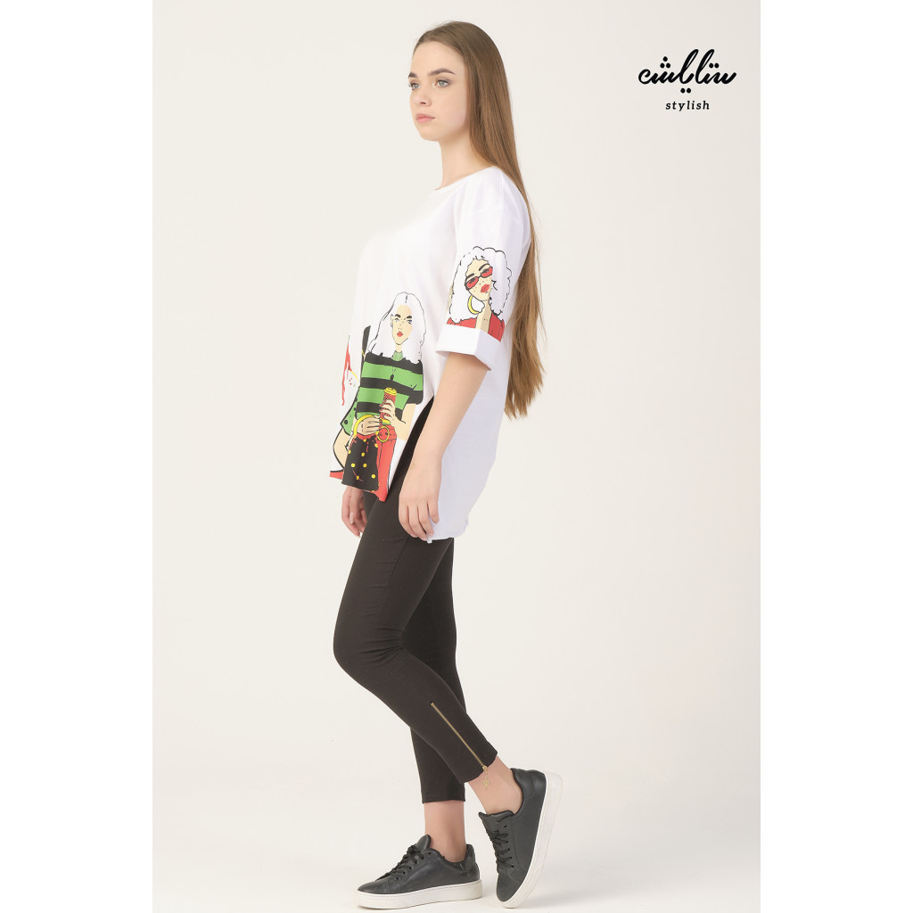White T-shirt with a character design, with a fold over the sleeves