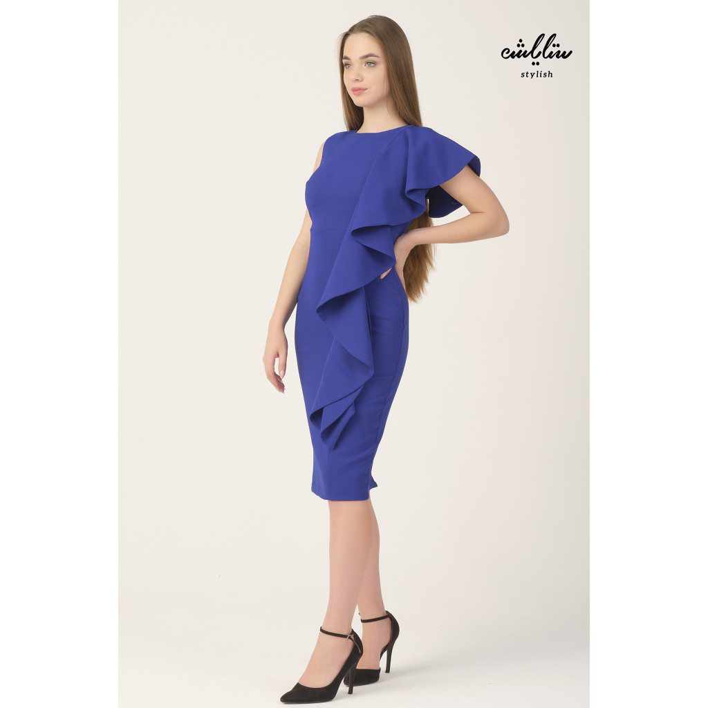 Blue bodycon dress with one side ruffels