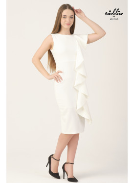 white bodycon dress with one side ruffels
