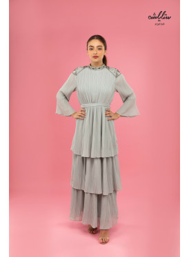 Elegant high neck pleated chiffon dress
