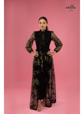 A sophisticated two-piece dress in black with a piece of embroidered tulle
