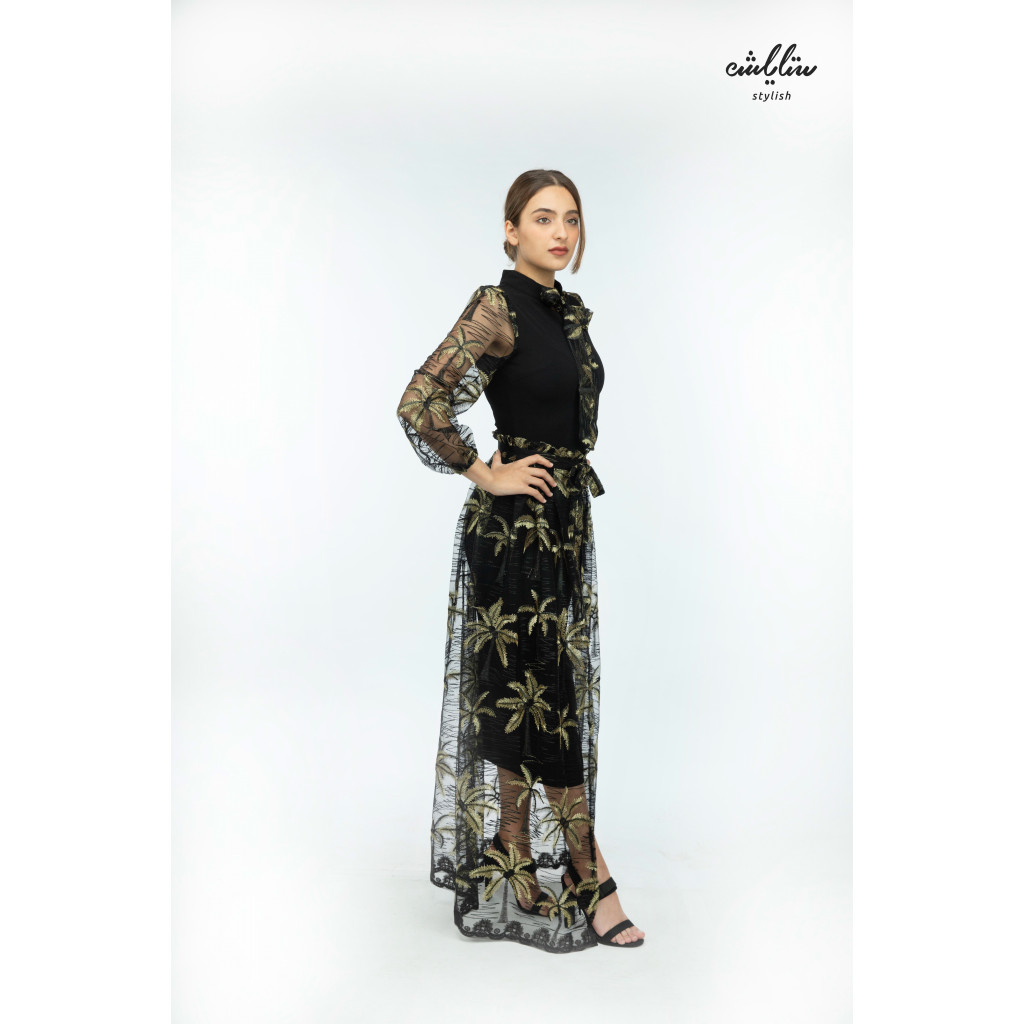 2pc sophisticated midi dress with  a piece of embroidered tulle